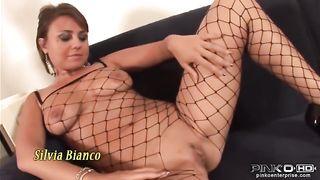 Silvia Bianco Playing With Two Cocks